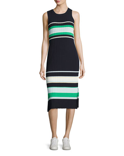 Striped Crew-Neck Tank Dress, Blue/Green