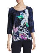 Lilia-Print 3/4-Sleeve Jersey T-Shirt