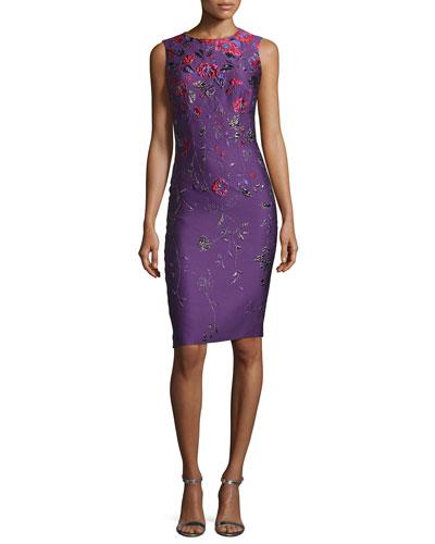 Hania Floral Jacquard Cocktail Sheath Dress
