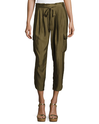Allyn Soft Sateen Cargo Pants, Green
