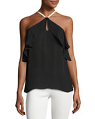 Elli Piped Halter Ruffle Silk Top, Black