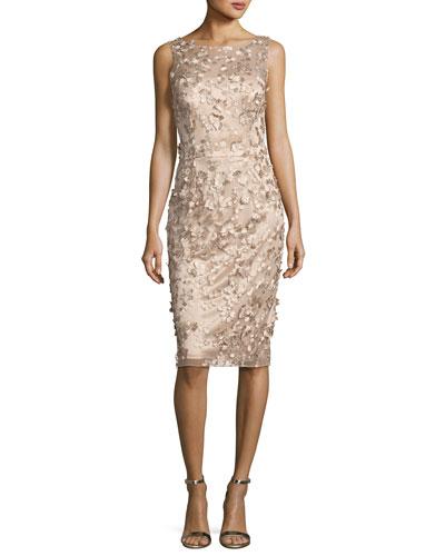 Sleeveless Metallic 3D Floral Cocktail Dress, Gold