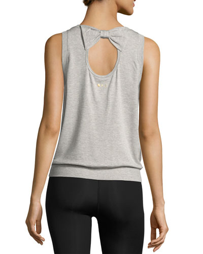 x kate spade new york terry bow cutout muscle tank, light gray ...