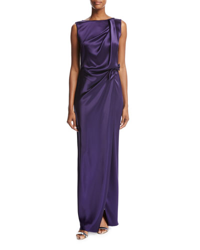 Liquid Satin Waist-Tie Gown