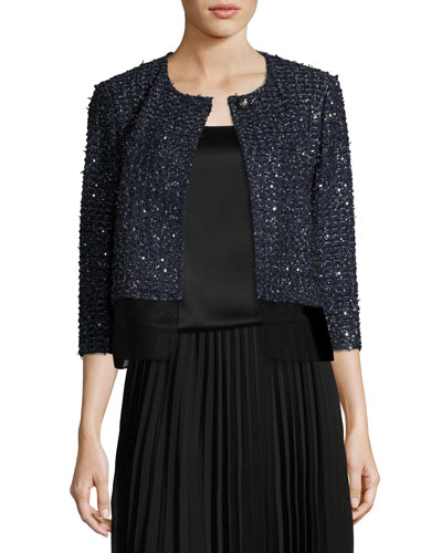 Ribbon Metallic Tweed Jacket W/ Organza Shirttail
