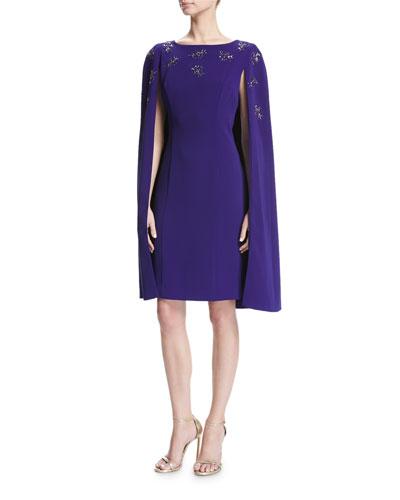 Cocktail Sheath Dress W/ Embellished Cape