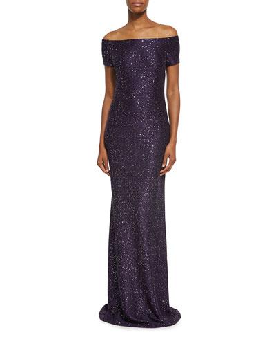 Hansh Sequin Knit Off-The-Shoulder Gown