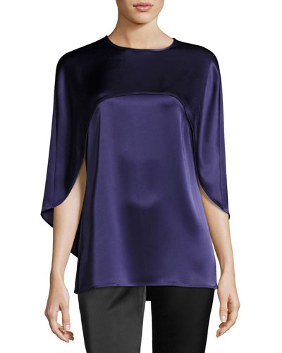 Liquid Satin Top W/ Cape Detail