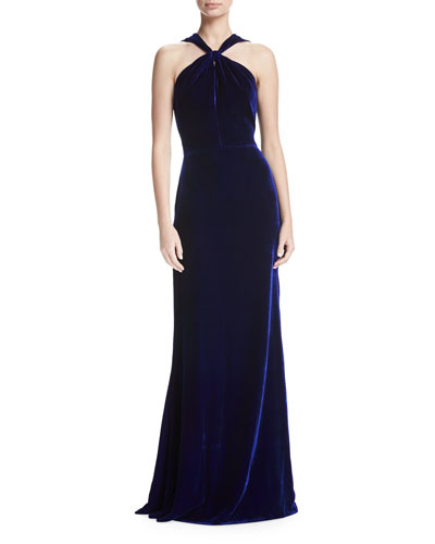 Velvet Draped Bow-Front Gown