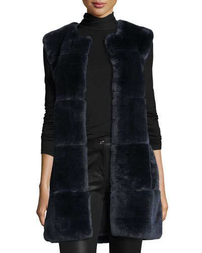 Rex Rabbit Fur Vest W/ Leather Pockets