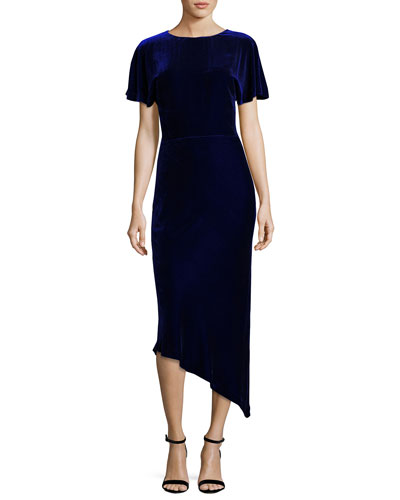 Short-Sleeve Velvet Asymmetric Cocktail Dress
