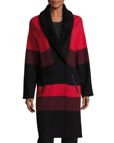 Felted Wool Colorblock Coat W/ Shearling Collar