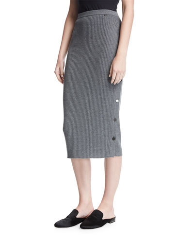 Ribbed Knit Pencil Skirt W/ Button Placket