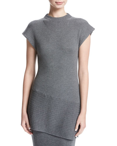 Ribbed Mock-Neck Asymmetric Top