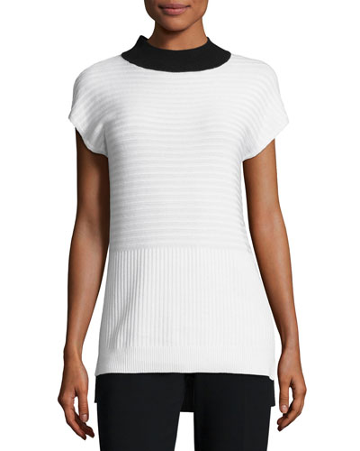 Ottoman Mock-Neck Sweater, White/Black