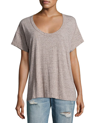 The Slouchy Scoop-Neck Tee, Gray