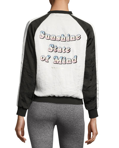 Sunshine Retro Bomber Jacket, White/Black