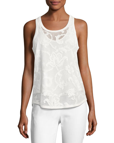 Stella Floral Laser-Cut Tank Top, White