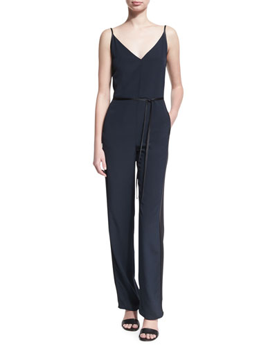 Rosa Sleeveless Silk Jumpsuit, Blue