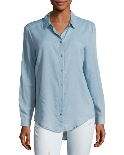 Nola Button-Down Denim Shirt, Blue