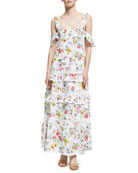 Daffodil Broderie Tiered Maxi Dress, White Pattern