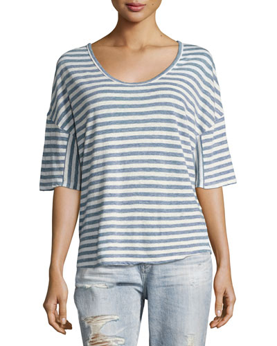Glen Short-Sleeve Striped Linen Tee, Blue