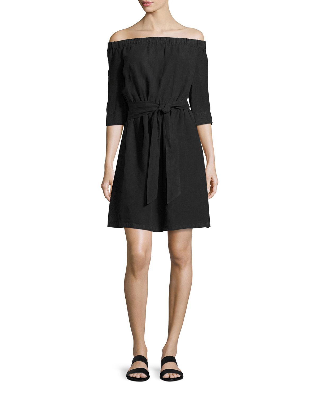 Off-the-Shoulder Linen Dress, Black