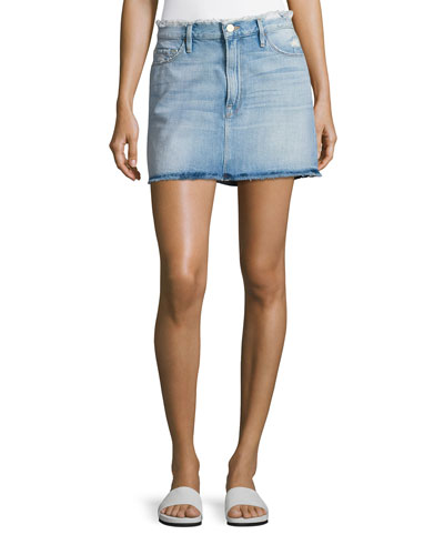 Le Mini Frayed Waist A-Line Denim Skirt, Blue