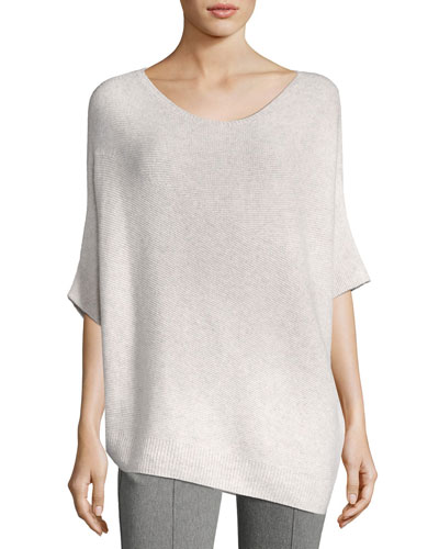 Reverse Jersey Cashmere Asymmetric Sweater, Pink/Gray