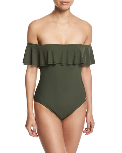 Off-the-Shoulder Ruffle One-Piece Swimsuit, Green