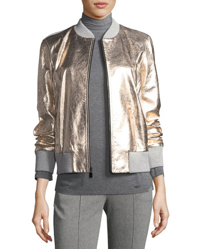 Metallic Napa Leather Bomber Jacket, Gold