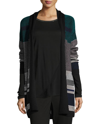 Engineered Inlay Stitch Knit Cardigan