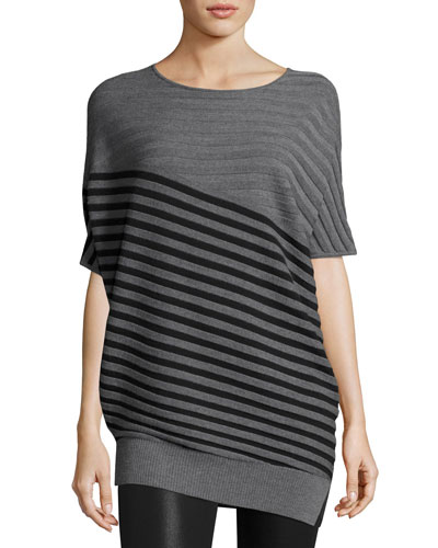 Wool Jersey Striped Asymmetric Sweater, Gray/Black