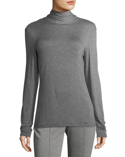 Mock-Neck Jersey Top, Gray