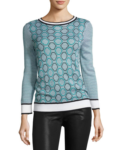 Geometric Jacquard Striped Sweater