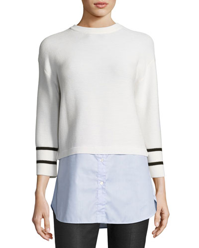 Link-Stitch Knit Sweater W/ Oxford Shirt