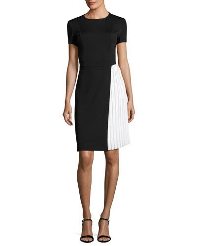 Short-Sleeve Milano Knit Sheath Dress W/ Pleated Inset