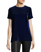 Short-Sleeve Velvet Top, Cobalt