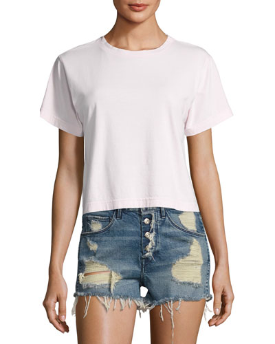 Cropped Boyfriend Crew Neck Tee, Blush
