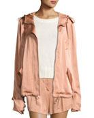 Theo Sateen Utility Jacket, Pink