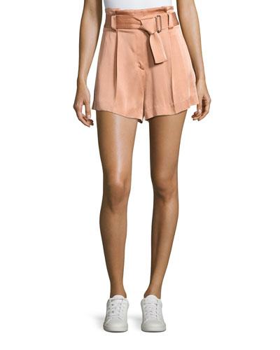 Delilah High-Waist Sateen Shorts, Pink
