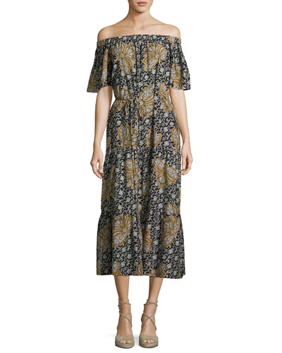 Doris Off-the-Shoulder Printed Midi Dress, Multi