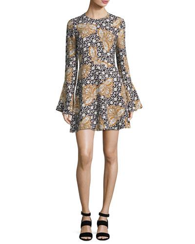 Trixie Printed Silk Mini Dress, Multi
