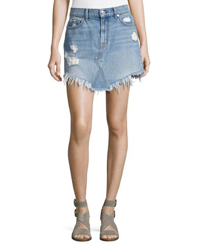 Distressed Mini Skirt W/ Scallop Raw-Hem, White