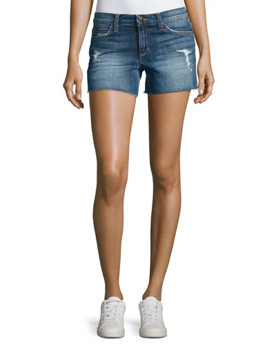 The Ozzie Mid-Rise Cutoff Denim Shorts, Indigo