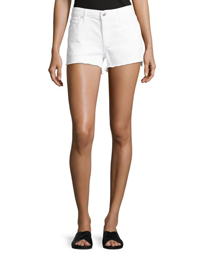 The Ozzie Step-Hem Denim Shorts, White