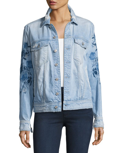 Distressed Boyfriend Jacket W/Blue Roses, Indigo