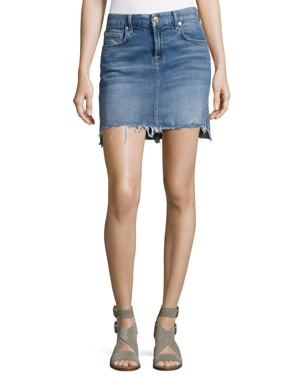 Pencil Denim Mini Skirt W/ Step Hem, Indigo