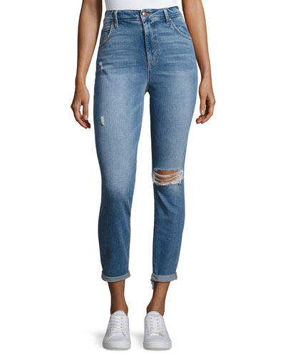 The Bella Crop Jeans W/ Raw Hem, Indigo