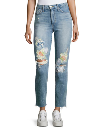 Debbie Crop Distressed Straight-Leg Jeans, Indigo